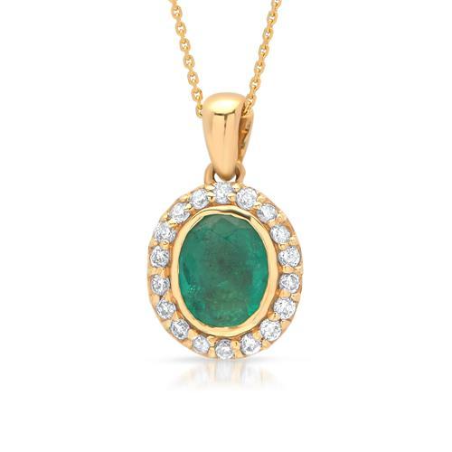 585er Gelbgold Collier mit Smaragd 0,26 ct. DN0007