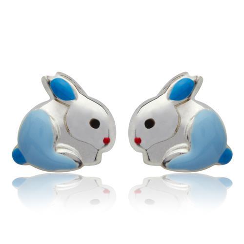 925 Silber Kinderohrstecker Hase blau KE0034
