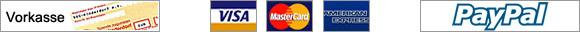 Vorkasse, Nachnahme, Visa, Mastercard, American Express, Paypal
