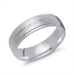 Matter Silber Ring Glanzrille 925 Silber in 6 mm R8518