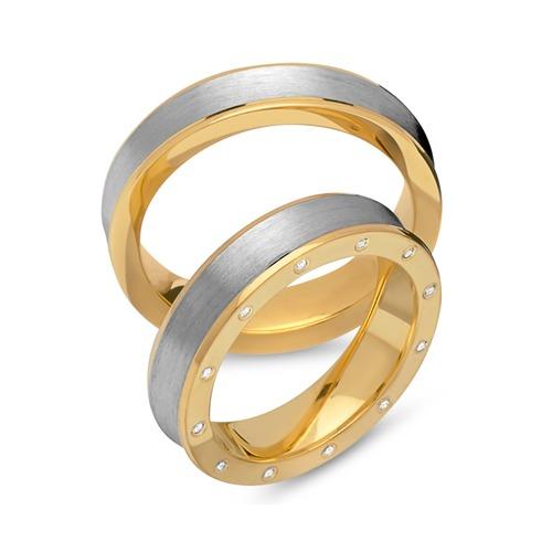 Eheringe 925er Silber vergoldet Zirkonia R8544s