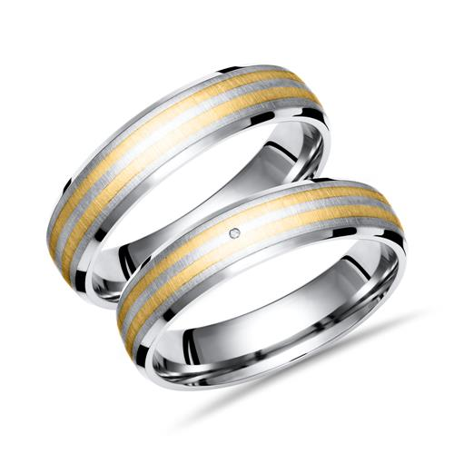 Eheringe Titan Gold Hochzeitsringe Diamant TR0011s